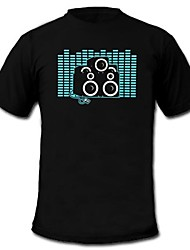 Mens Light Up T-shirt Sound and Music Activated Equalizer LED EL Velcro Panel Machine Washable Party Bar Raver Festival