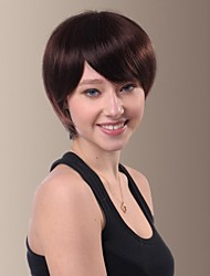 Personality Human Hair for Young Woman Side Bangs Hair Wigs