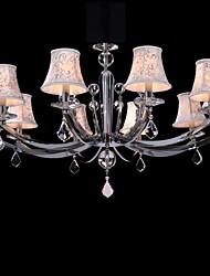 moderne Kristall Pendelleuchte, zehn Leuchten, Stahl und Stoff (6660-10)