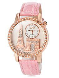 Женские Модные часы Японский кварц Кварцевый PU Группа Блестящие Эйфелева башня Черный Белый Красный Коричневый Розовый Фиолетовый