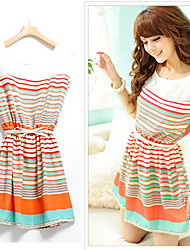 la robe de bande de mode féminine (rayures et couleur aléatoire)
