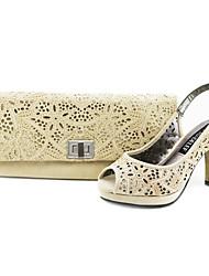 Damenschuhe slingback Pfennigabsatz Sandalen Schuhe Beflockung Beflockung passenden Kupplungen Tasche