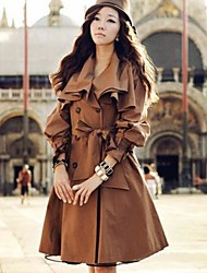 Women's Label Solid Color Long Sleeve Trench Coat with Belt