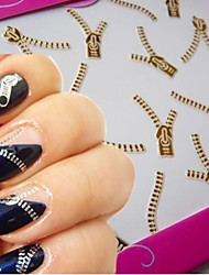 1PCS Netal Zipper Nail Stickers