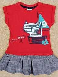 vestido de princesa vestido de animal lindo de impresión de manga corta para los niños del verano se viste de impresión al azar