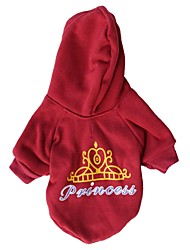Cat / Dog Hoodie Red Dog Clothes Winter Tiaras & Crowns