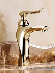 Centerset Single Handle One Hole in Ti-PVD Bathroom Sink Faucet