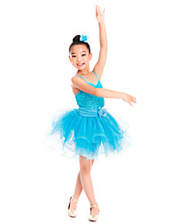 Kids' Dancewear Dresses Children's Training Spandex Sequined Tulle Flower(s) Sequins Sleeveless Natural