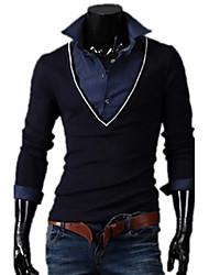 V Neck Two Piece Like Long Sleeve Shirt
