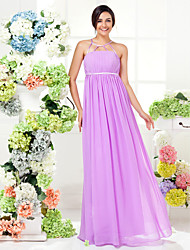 Lanting Bride® Floor-length Georgette Bridesmaid Dress - Sheath / Column Jewel Plus Size / Petite with Draping / Sash / Ribbon