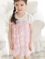 Girl's Fashion New Princess Snowflakes Lace Patchwork Children Dress