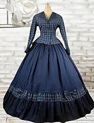 algodón azul traje lolita clásico de manga larga de tinta hasta los pies