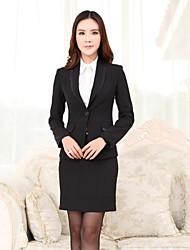 Women's Lapel Solid Color Slim Long Sleeve Temperament Professional Suit(Blazer+Skirts)