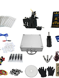 1 Gun Complete No Ink Tattoo Kit with K-Shaped Black Tatoo Machine and Ep-2 Power (Contain a Suitcase)