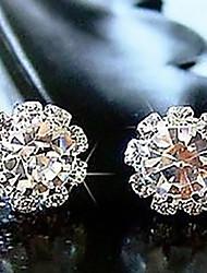 h&soleil fleur zircon corée diamonade boucles d'oreilles élégantes de femmes d