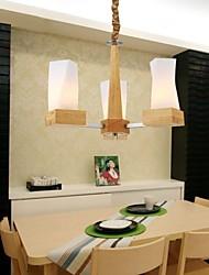 pingente de carvalho lâmpada, três luzes, carvalho e vidro, 220 ~ 240V (hy2363)
