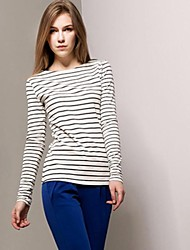 Women's Round Collar Stripe Long Sleeve Cotton Tops T-Shirts