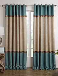 (Two Panels) Neoclassical Blue And Beige Solid Floral Lace Room Darkening Curtain