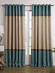 Dos Paneles Ventana Tratamiento Mediterráneo , Sólido Sala de estar Poliéster Material cortinas cortinas Decoración hogareña For Ventana