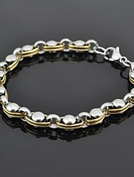 Toonykelly® Fashion 21CM Men's Stainless Steel Bracelet(Silver and Gold)(1PC)