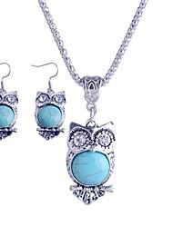 lureme®turkey diamante azul tophus collares colgante búho lindo y traje pendiente