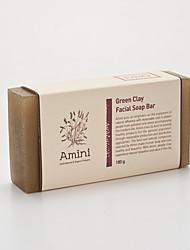 [Amini] natürlichen Haut Atopie große Sorgfalt handgemachtes Produkt grüner Tonerde Gesichtsseife bar