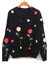 Women's Fall Wear with China Rose Sweet Hook flower Mohair Pullover Sweater