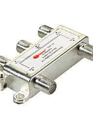 4 Way Satellite TV Antenna Coaxial Power Splitter Silvery