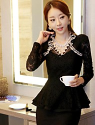 Women's Slim Lace Collar Long Sleeved T-shirt