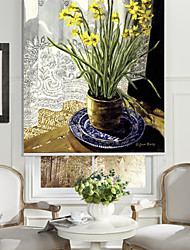 Oil Painting Style Yellow Flowers Roller Shade