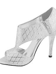 Mujer-Tacón Stiletto-Punta Abierta / Zapatos y Bolsos a JuegoVestido / Fiesta y Noche-Semicuero-Plata