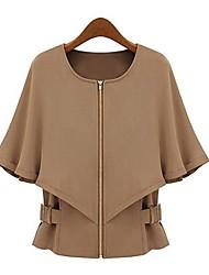 Women's Zipper Cloak Short Coat