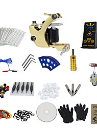 1 Gun Complete No Ink Tattoo Kit with Golden Tatoo Machine For Shader and Hp-2 Power Supply