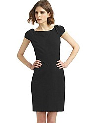 Women's Solid Black Dress , Party/Work Square Neck Short Sleeve