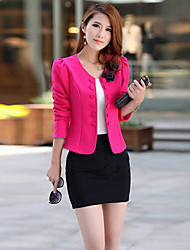 Falari Women's New Korean Temperament Slim Double-breasted Large Yard OL Short Type Blazer Suit