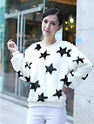 chaqueta sin cuello de piel de imitación de manga larga de la moda en forma de estrella (más colores)