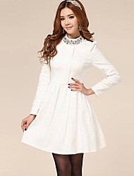 Women's Standing Collar Temperament Ladies Repair Base Skirt Dress
