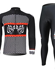 XINTOWN Men's Tiger Quick Dry Moisture Absorption Long Sleeve Cycling Suit—Red+Black