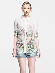 Abigail Floral Print Fashion Fitted Sheer Shirt