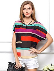 Women's Summer Loose Colorful Stripe Short Sleeve Chiffon T-Shirt