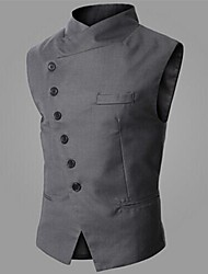 Men's Sleeveless Jacket , Cotton/Polyester Casual/Work/Formal Pure