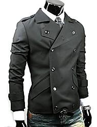 Casual manga comprida Jacket Masculina Kuxing cor sólida com Bottons (Black)