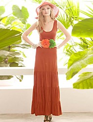 Women's Dress , Spandex Midi Sleeveless