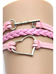 LOVE Women's Vintage Heart Key Weave Bracelet