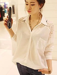 Women's Lace White/Black Blouse/Shirt , Shirt Collar Long Sleeve Lace