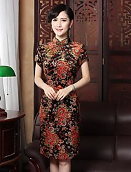Women's Embroidery Silk Bodycon Chinese Style Dress