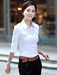 Women's Formal Simple Spring / Summer / Fall Shirt,Solid Shirt Collar Long Sleeve White Cotton Medium