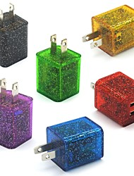 Glitter LED Flashing Light Dual USB 2-Port Home Travel Wall Charging Charger Adapter for Samsung/iPhone US (6pcs)