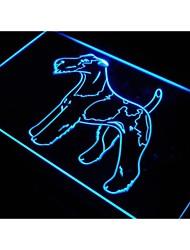 j532 fox terrier fio sinal da raça do cão barra de luz neon