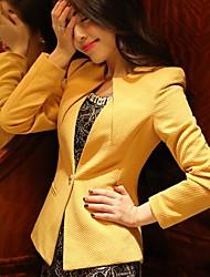 Damen Solide Übergröße Mantel,Herbst Langarm Weiß / Schwarz / Gelb Mittel Polyester